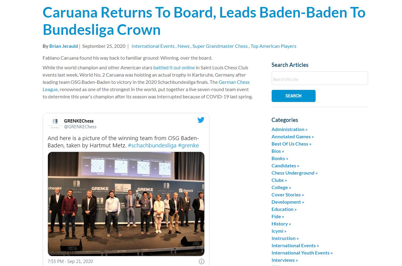 Photo of <b>Caruana</b> Returns to Board, Leads Baden-Baden to Bundesliga Crown