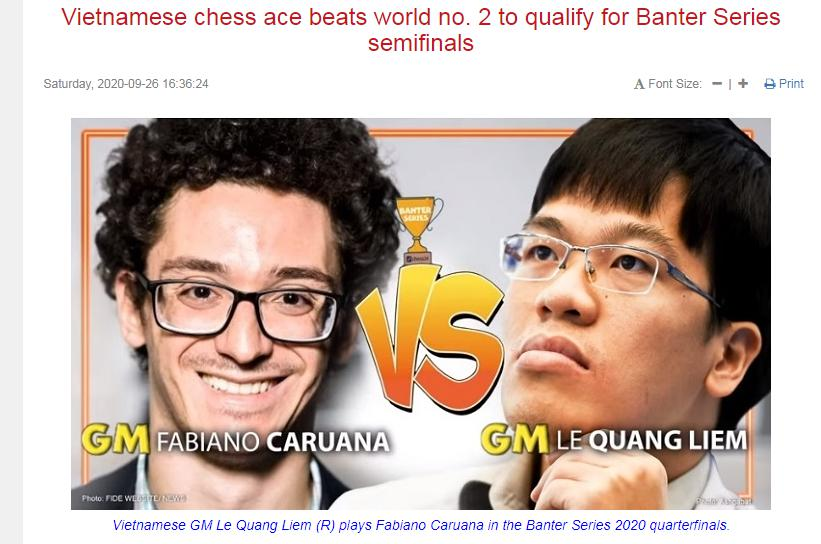 Photo of Vietnamese chess ace beats world no. 2 to qualify for Banter Series semifinals
