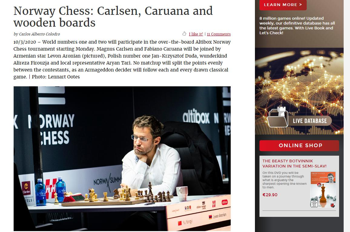 Photo of Norway Chess: Carlsen, <b>Caruana</b> and wooden boards