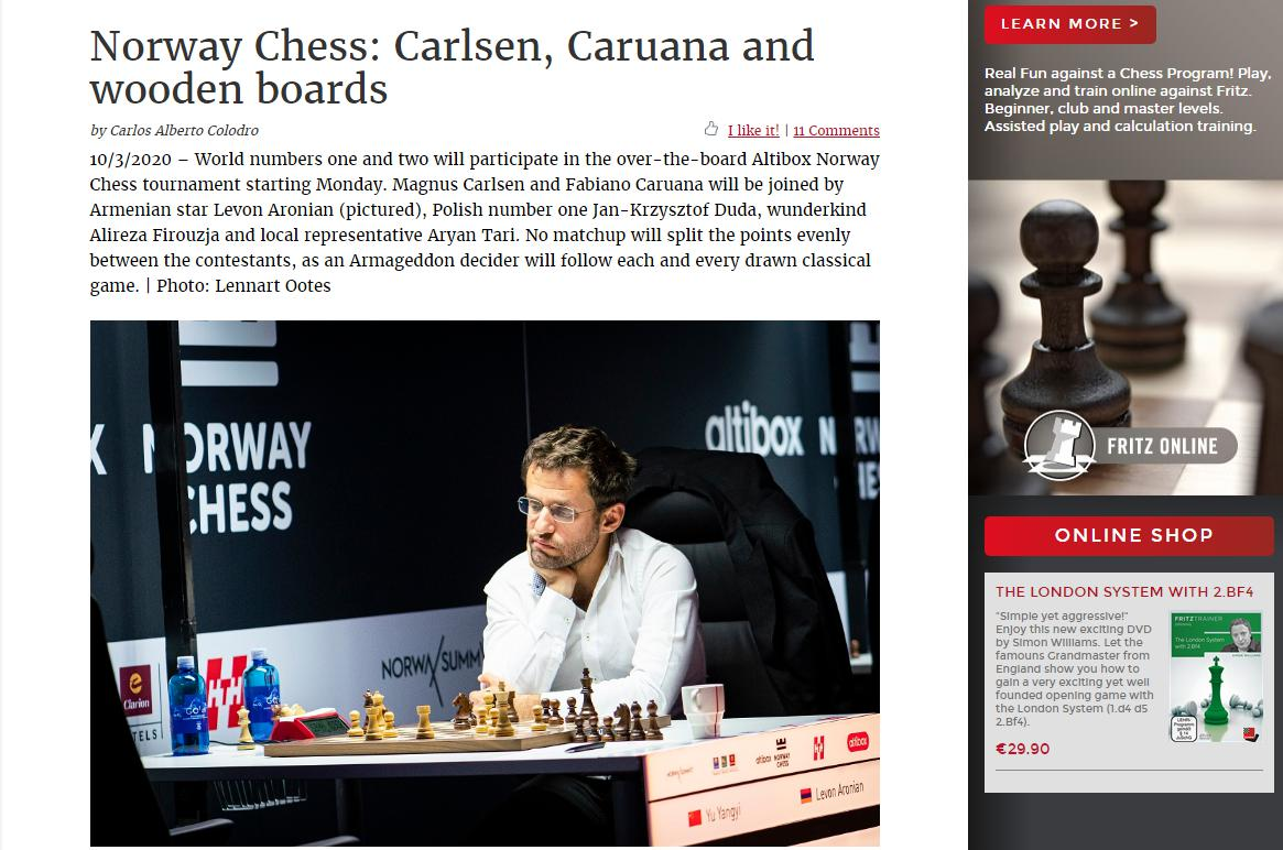Photo of Norway Chess: Carlsen, Caruana and wooden boards