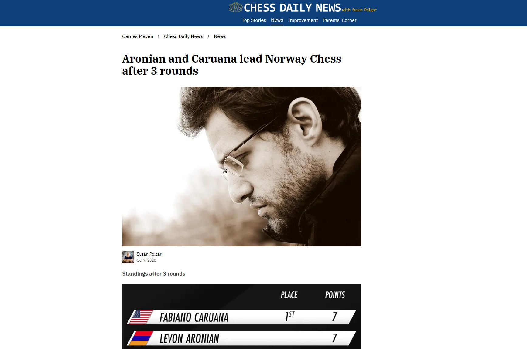 Photo of Aronian and <b>Caruana</b> lead Norway Chess after 3 rounds