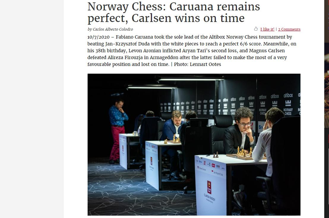 Photo of Norway Chess: Caruana remains perfect, Carlsen wins on time