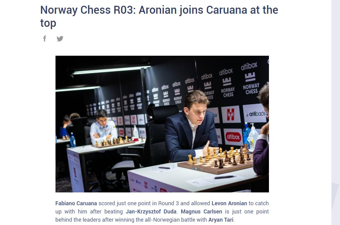 Photo of Norway Chess R03: Aronian joins <b>Caruana</b> at the top