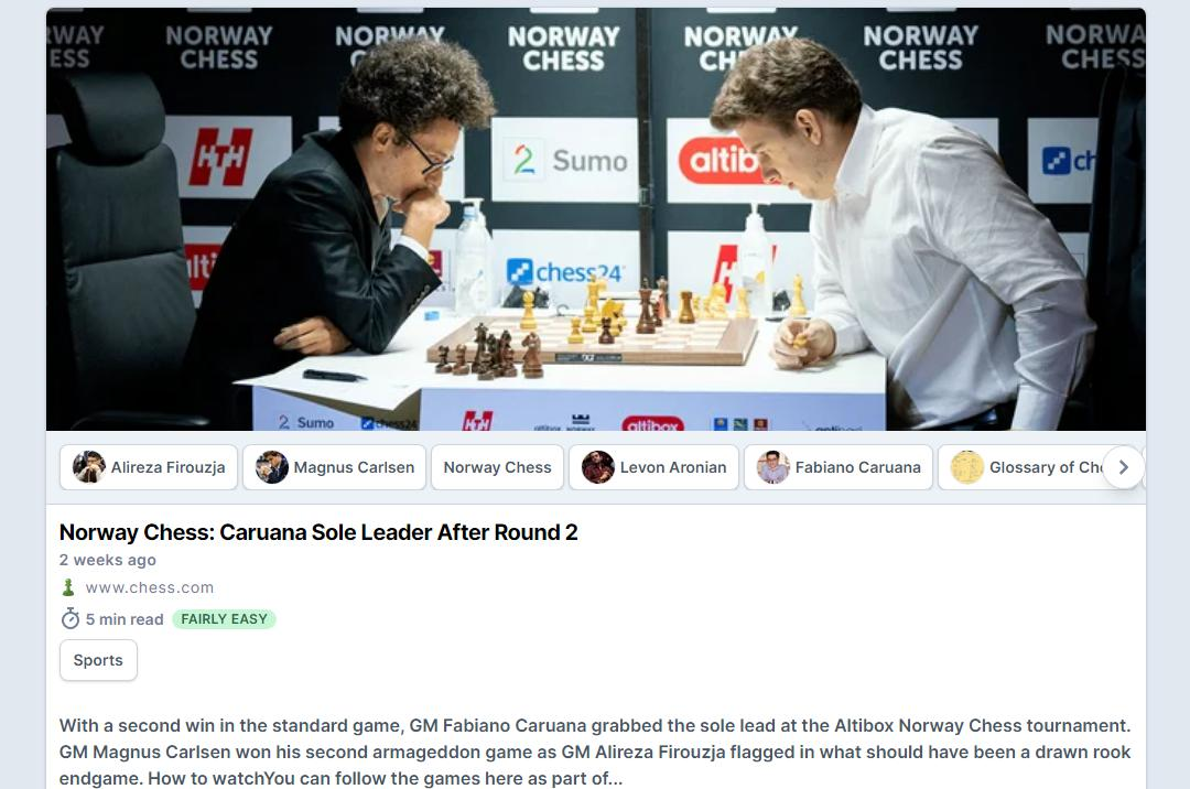 Photo of Norway Chess: <b>Caruana</b> Sole Leader After Round 2