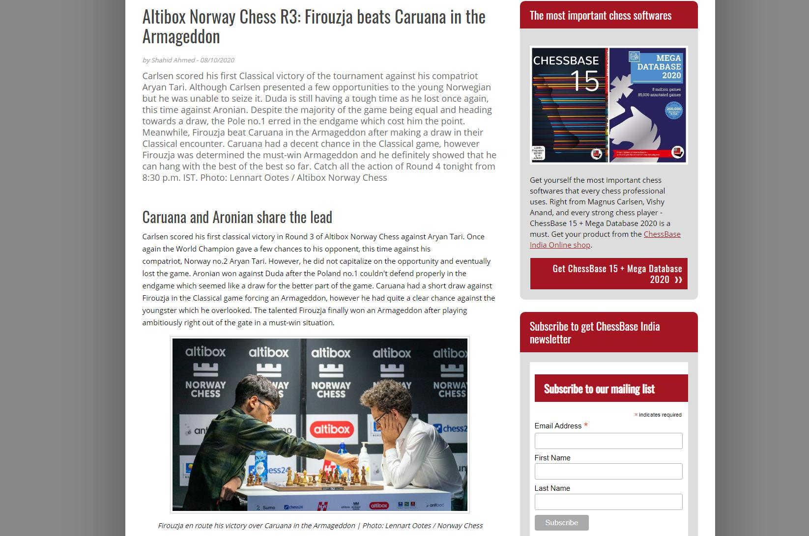 Photo of Altibox Norway Chess R3: Firouzja beats <b>Caruana</b> in the Armageddon