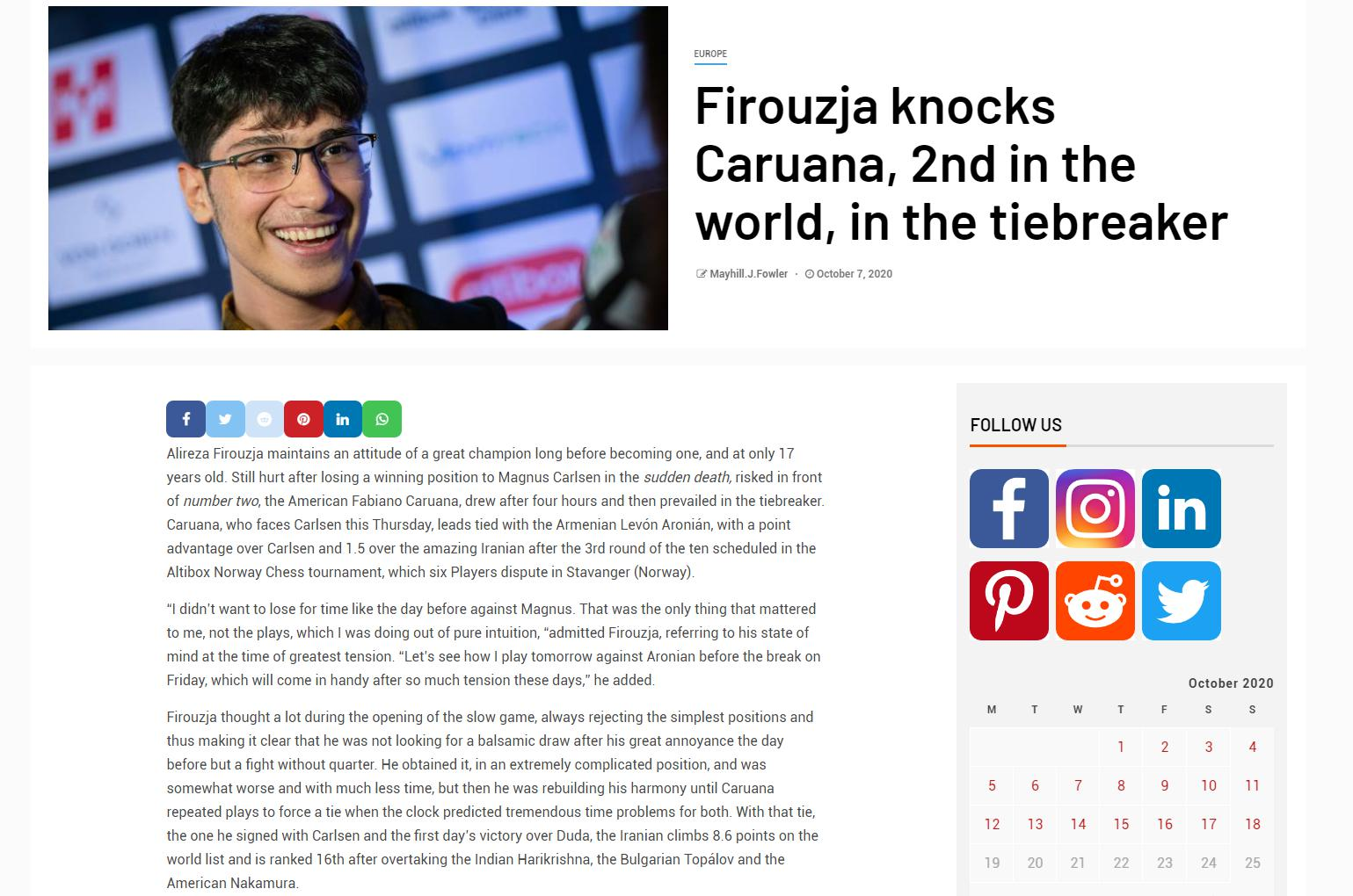 Photo of Firouzja knocks <b>Caruana</b>, 2nd in the world, in the tiebreaker