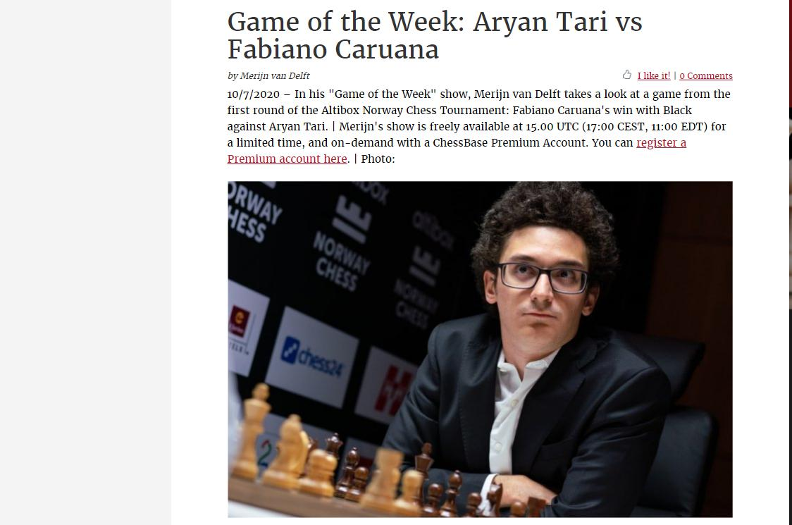 Photo of Game of the Week: Aryan Tari vs <b>Fabiano Caruana</b>