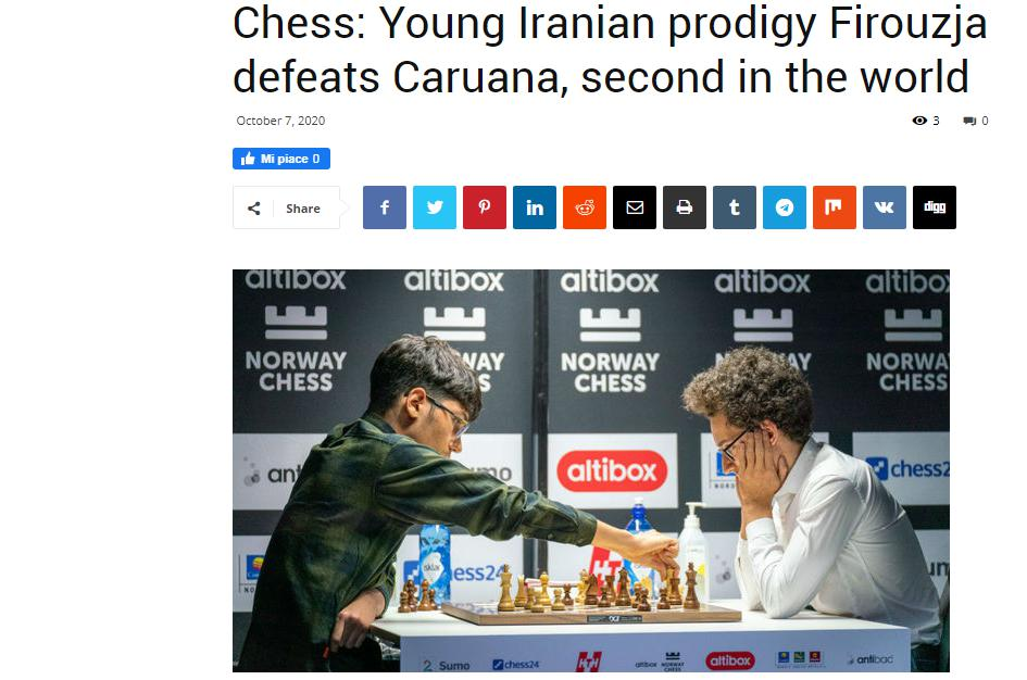 Photo of Chess: Young Iranian prodigy Firouzja defeats <b>Caruana</b>, second in the world