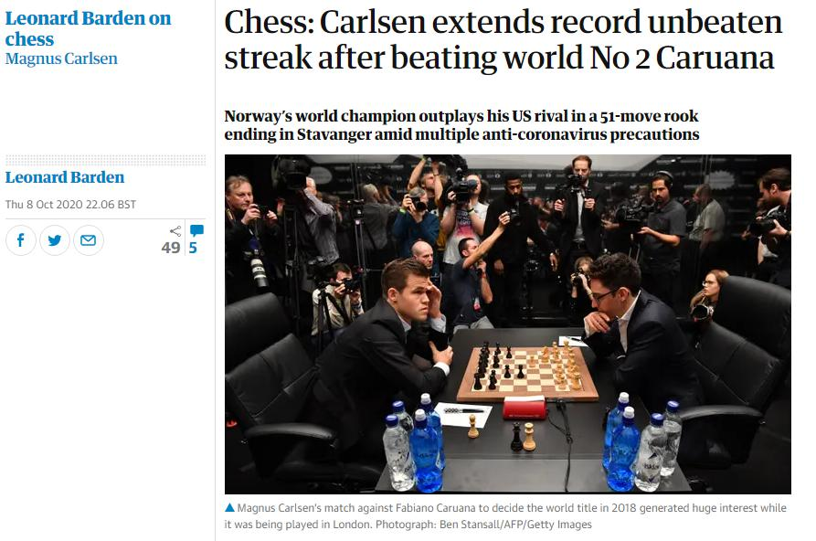 Photo of Chess: Carlsen extends record unbeaten streak after beating world No 2 Caruana