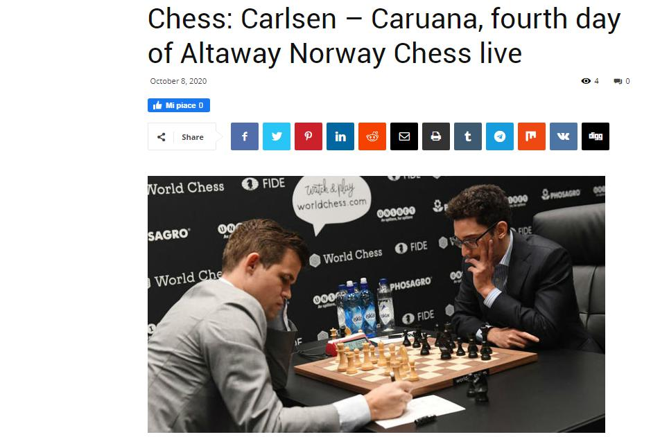 Photo of Chess: Carlsen =E2=80=93 <b>Caruana</b>, fourth day of Altaway Norway Chess live
