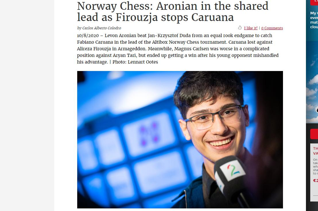 Photo of Norway Chess: Aronian in the shared lead as Firouzja stops <b>Caruana</b>