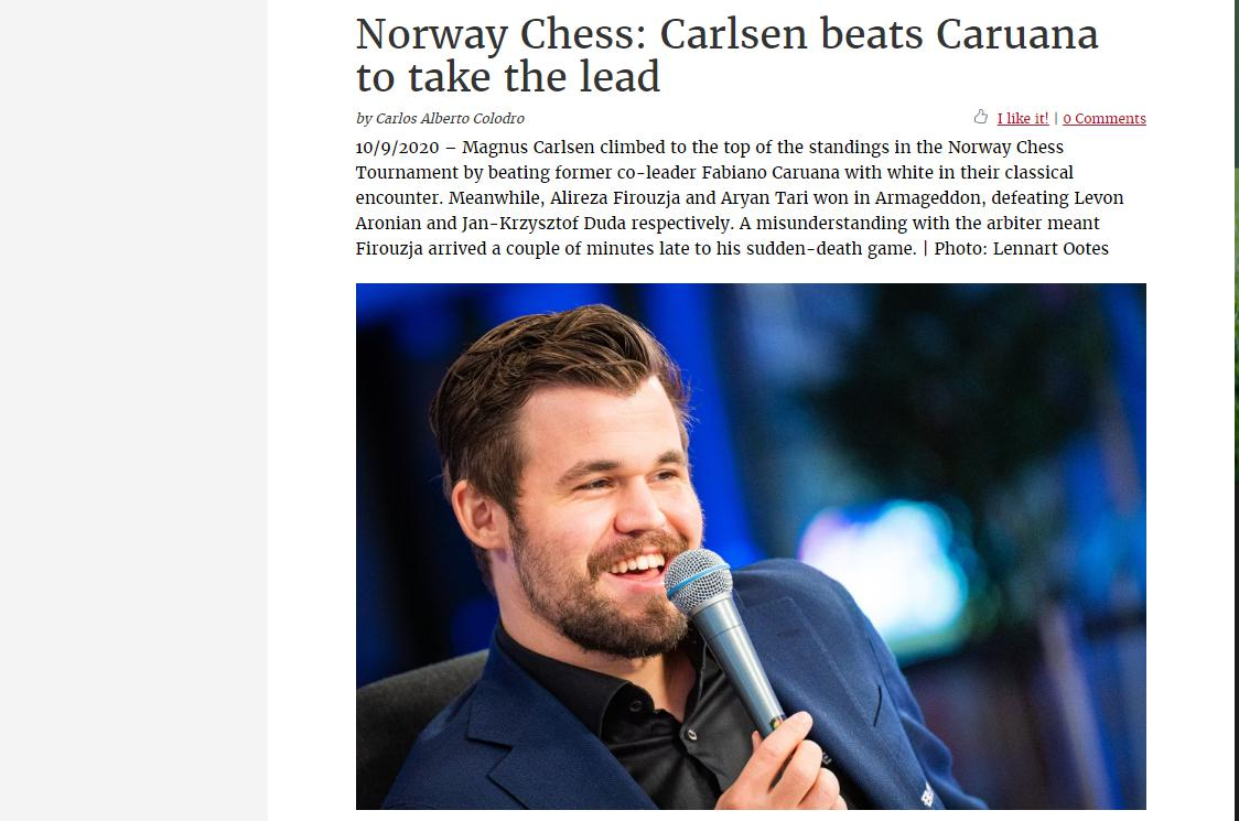 Photo of Norway Chess: Carlsen beats Caruana to take the lead