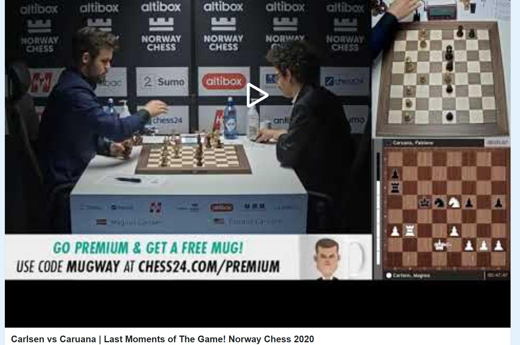 Photo of Carlsen vs <b>Caruana</b> | Last Moments of The Game! Norway Chess 2020