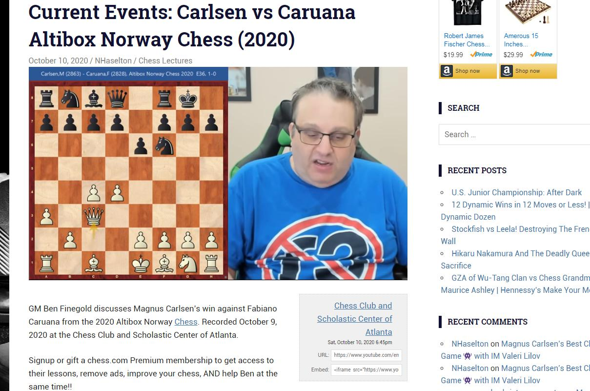 Photo of Current Events: Carlsen vs <b>Caruana</b> Altibox Norway Chess (2020)