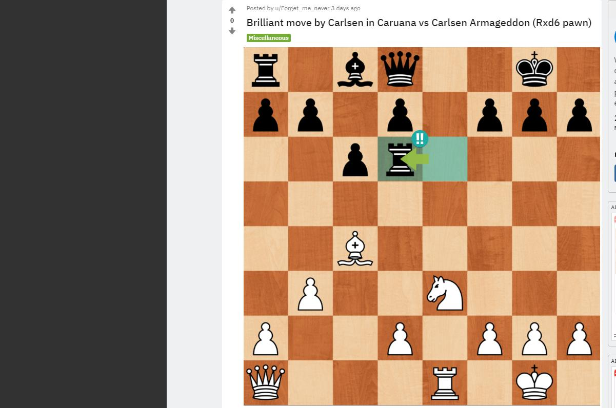 Photo of Brilliant move by Carlsen in <b>Caruana</b> vs Carlsen Armageddon (Rxd6 pawn)