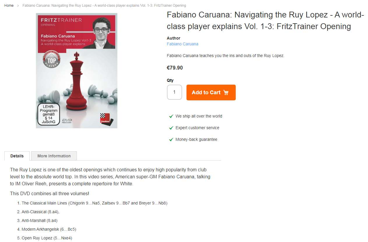 Photo of Fabiano Caruana: Navigating the Ruy Lopez - A world-class player explains Vol. 1-3: FritzTrainer Opening
