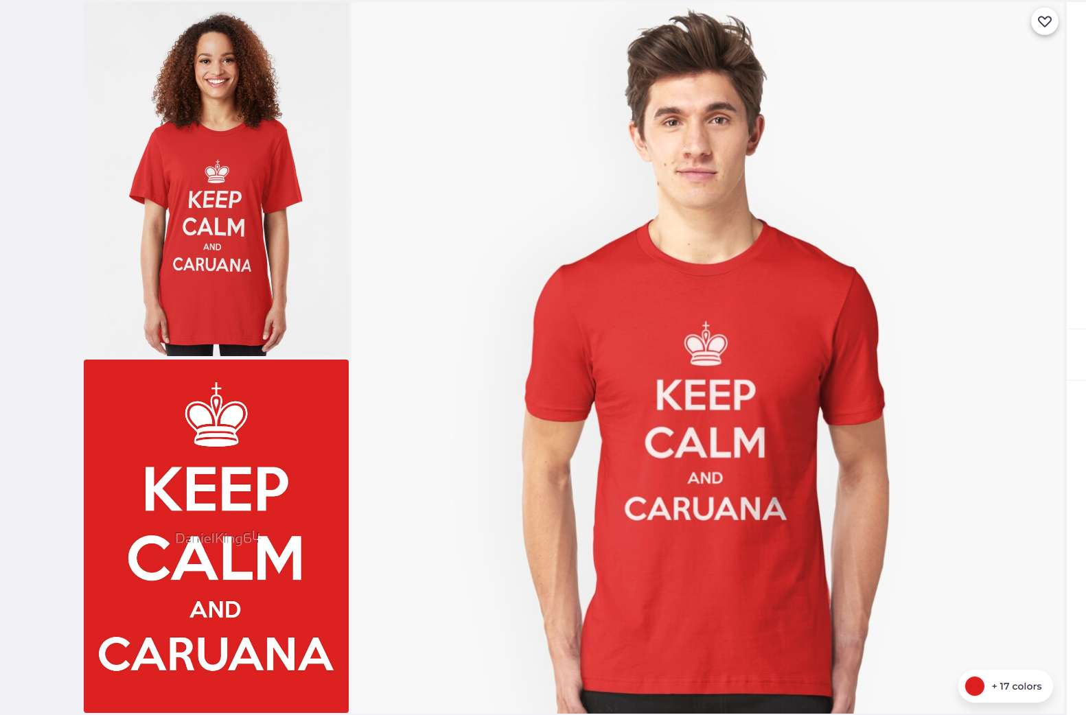 Photo of Keep Calm and Caruana Chess Logo Slim Fit T-Shirt